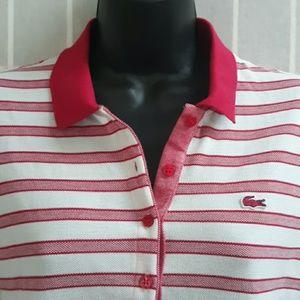 Lacoste Dresses - LACOSTE Hot Pink &White Stripe Polo Shirt Dress 40